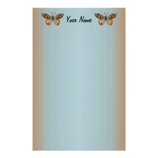Pretty Monarch Butterfly Abstract Border Custom Stationery