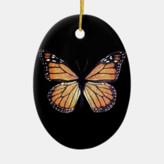 Pretty Monarch Butterfly on Black Christmas Ornament