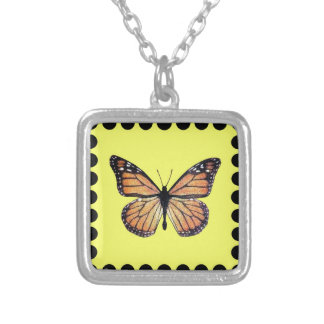 Pretty Monarch Butterfly on Gold Silver Plated Necklace