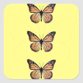 Pretty Monarch Butterfly on Gold Square Sticker