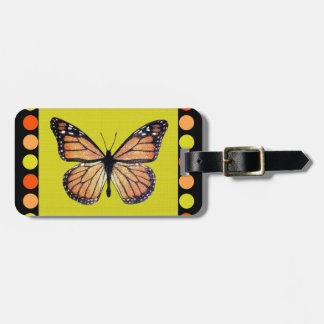 Pretty Monarch Butterfly on Gold with Polka Dots Luggage Tag