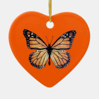 Pretty Monarch Butterfly on Orange Christmas Ornament