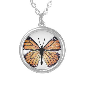 Pretty Monarch Butterfly Silver Plated Necklace