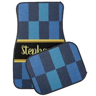 Pretty monogram light blue and blue design car mat