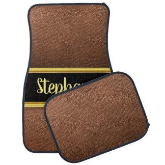 Pretty monogram light brown leather design car mat