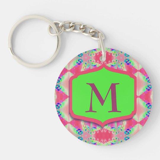 Pretty Monogram Pink Green Pattern Key Ring