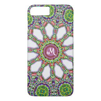 Pretty Monogram Purple White Daisy Flower Mosaic iPhone 7 Plus Case