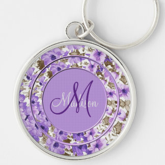 Pretty Monogram Purple & White Floral Key Chain