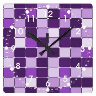Pretty Mosaic Tile Pattern Purple Lilac Lavender Wallclock