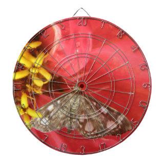 Pretty Moth on Red Flower Dart Board