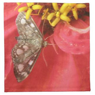 Pretty Moth on Red Flower Napkin