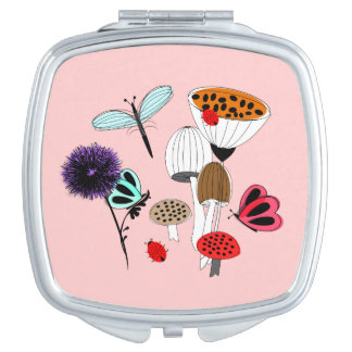 Pretty Mother Nature Country Illustration Compact Mirror