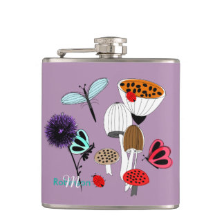 Pretty Mother Nature Country Illustration Hip Flask