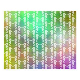 Pretty Multicolor Seahorse Pattern Design 11.5 Cm X 14 Cm Flyer