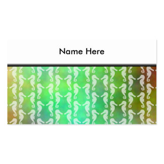 Pretty Multicolor Seahorse Pattern Design Business Card Template