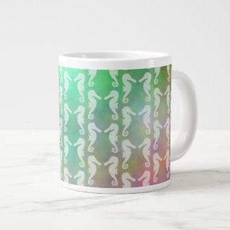 Pretty Multicolor Seahorse Pattern Design Large Coffee Mug
