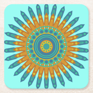 Pretty Mystical Mandala Teal and Orange Coasters