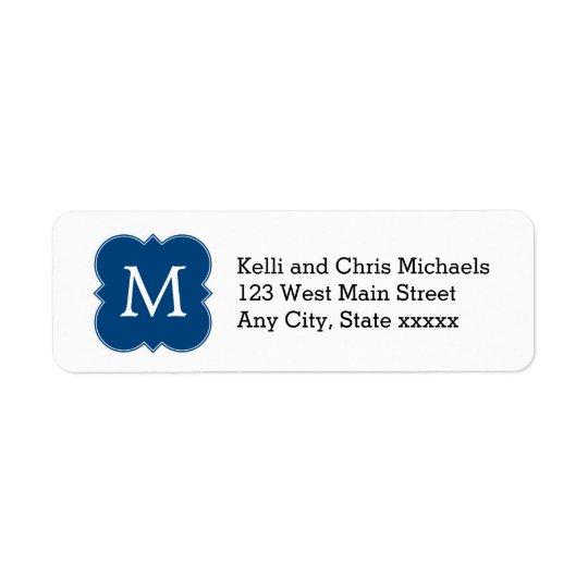 Pretty Navy Blue Monogram Return Address Labels