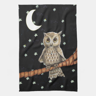Pretty Night Owl Necklace Moon Stars on Black Towel