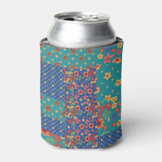 Pretty Nostalgic Faux Patchwork Can Cooler