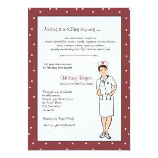 """Pretty Nurse Graduation Invitation 5"""" X 7"""" Invitation Card"""