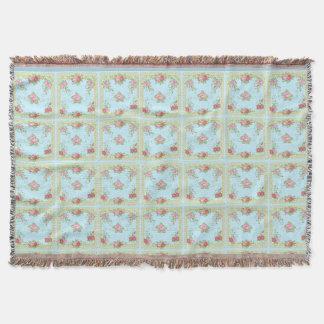 Pretty Old Roses Blue Gold Vintage Tile Pattern Throw Blanket