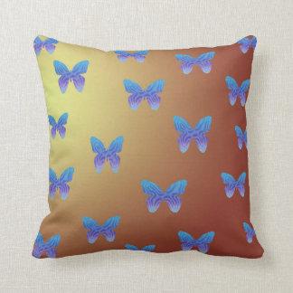 Pretty Orange and Yellow Pillow Blue Butterflies