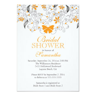 Pretty Orange Butterfly Floral Bridal Shower Card