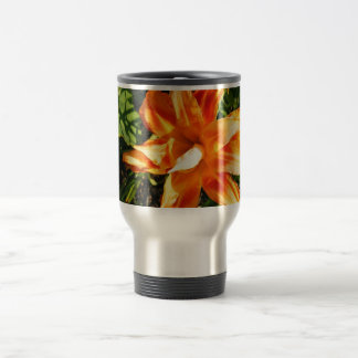 Pretty Orange Flower Stainless Steel Travel Mug