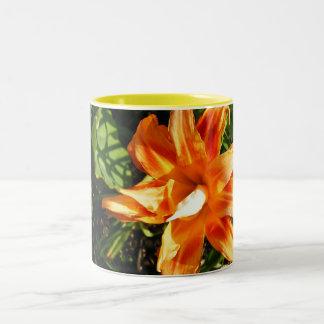 Pretty Orange Flower Two-Tone Mug