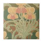 pretty orange flowers art nouveau design ceramic tiles