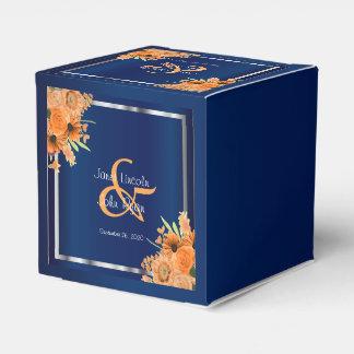 Pretty Orange Flowers on Navy Blue Favour Box