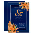 Pretty Orange Flowers on Navy Blue Invitations