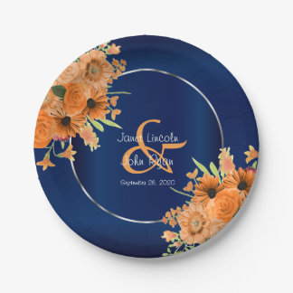 Pretty Orange Flowers on Navy Blue Paper Plate