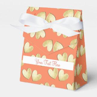 Pretty Orange Gold White Personalized Favour Box