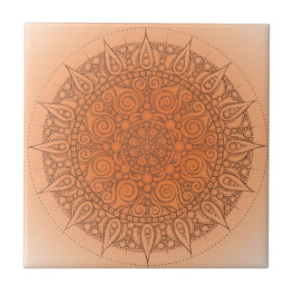 Pretty Orange Oriental Design Tile