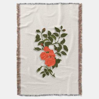 Pretty Orange Ornamental Roses Throw Blanket