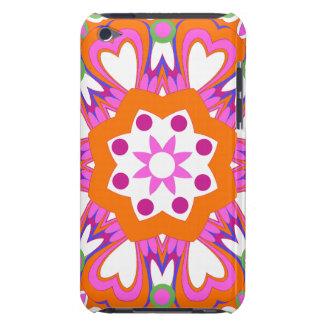 Pretty Orange & Pink Retro Flowers iPod Touch Case