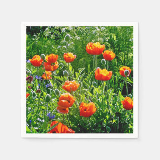 Pretty orange poppies garden disposable serviettes