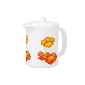 Pretty Orange Poppies Tea Pot