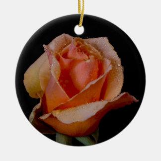 Pretty Orange Rose Round Ceramic Decoration