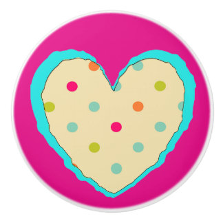 Pretty orange teal and pink Polka Dot Heart Knob