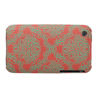 Pretty orange vintage floral art nouveau pattern iPhone 3 cover