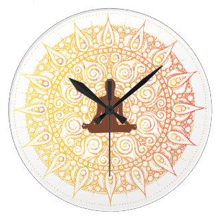Pretty Orange/White Oriental yoga Design Large Clock