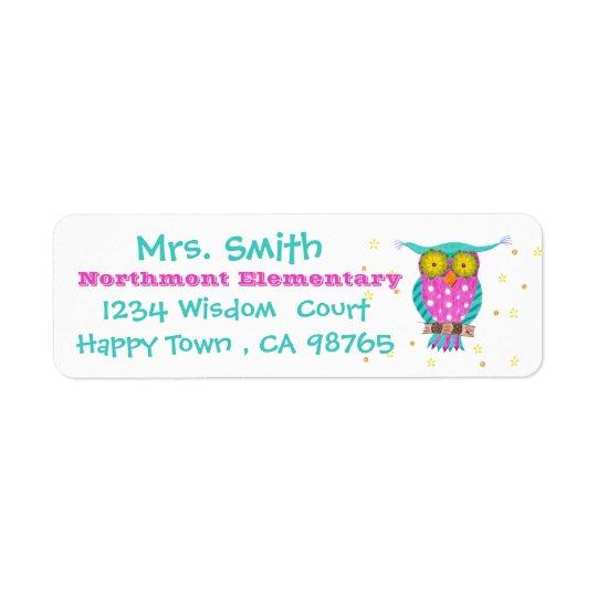 Pretty owl teacher return address labels
