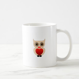 Pretty owl with a red heart mugs
