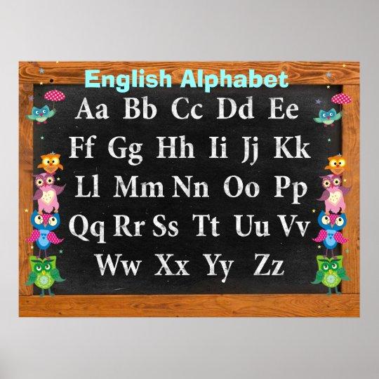 Pretty owls Alphabet Customisable Poster
