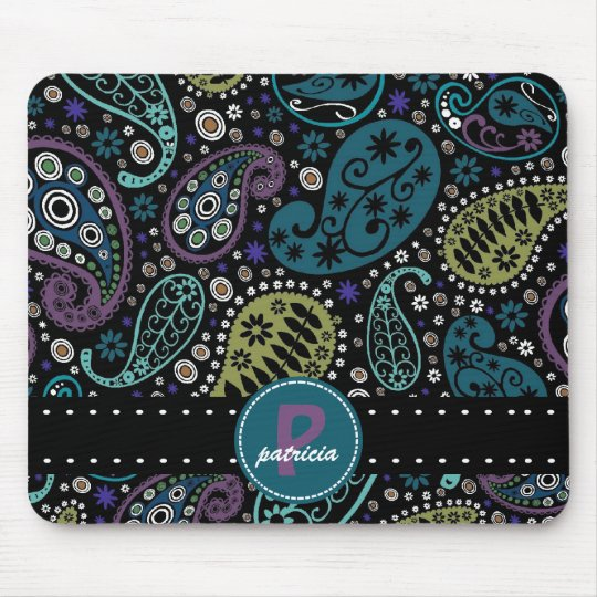 Pretty Paisley in Rich Peacock Colours Mouse Mat