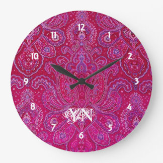 Pretty Paisley monogram Large Clock