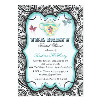 Pretty Paisley Tea Party Invitation